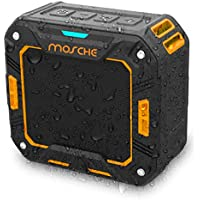 Bluetooth Speakers,Mosche Portable Waterproof Bluetooth Speaker 5W with Enhanced Bass,20 hour Playtime for Shower/Sports (Black/Orange)