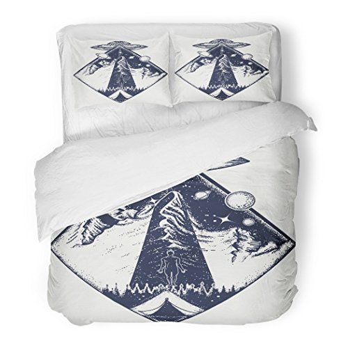 SanChic Duvet Cover Set Ufo Tattoo and Invasion of Aliens Kidnap Human Mystical Symbol Paranormal Phenomena First Contact Decorative Bedding Set with 2 Pillow Shams Full/Queen Size by SanChic