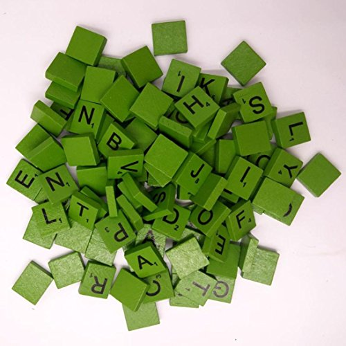 100PCS Letters Tile Games Emubody Wooden Scrabble Tiles Black Letters Numbers For Crafts Wood Alphabets, Green