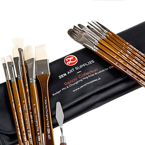 Professional Oil & Acrylics Artist Brushes - Long-Lasting Badger/Japanese Synthetic Blend, Chungking hog - Lacquered Birchwood Long Handles - Elegant Rollup Case - 14 pcs Renoir Collection by ZenArt (Best Student Grade Oil Paint)