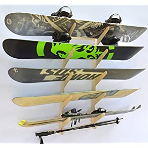 Snowboard Ski Hanging Wall Rack Holds 5 Boards