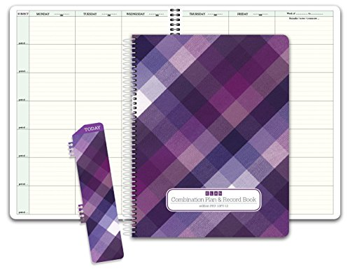 "Hard Cover Combo Plan and Record Book: One 8-1/2"" x 11"" book for lesson plans and grades combines W101 and R1010 (PR7-10) (+) Bonus Clip-in Bookmark (purple plaid)"