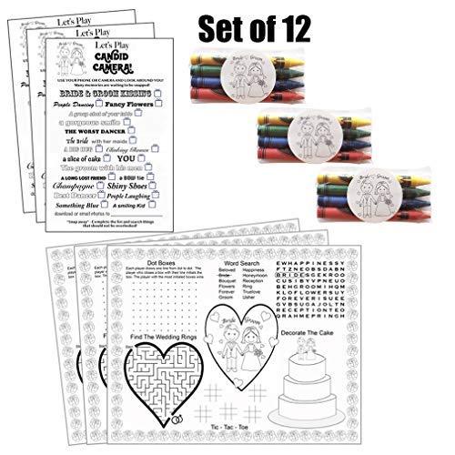 Kids Wedding Activities Set Wedding Activities For Kids Set Comes With (12), Wedding Activity Placemats (12), Wedding Scavenger Hunt Sheets and (12), Set of Crayons]()
