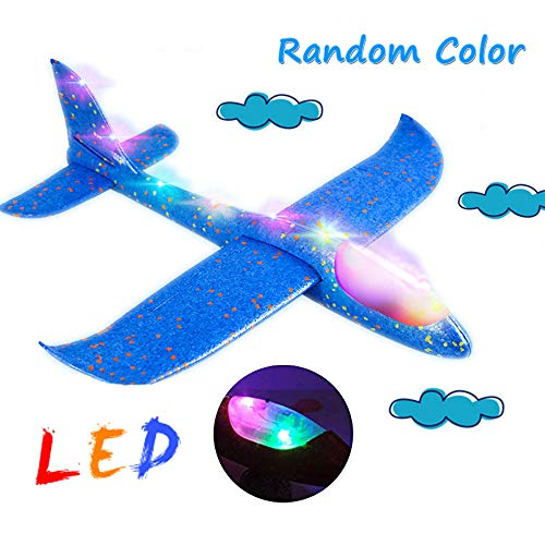 (Flashing Luminous Flying Toys Foam Plane Glider Manual Throwing Airplane Dual Flight Mode With LED Light Charming Shining Fly at Night Outdoor Sports Toy for Kids Girl boy as Best)