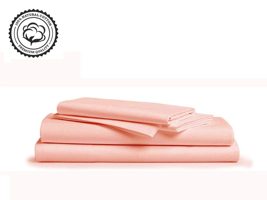 """Linenwalas 800 Thread-Count 100% Pure Cotton Bed Sheets On Amazon 4Pc King Size Peach Color Sheet Set-Long Staple Combed Cotton Yarns,Best Luxury Sateen Weave,Fits Mattress Upto 16"""" Deep Pocket."""