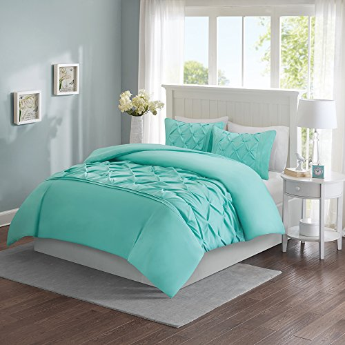 Comfort Spaces – Cavoy Duvet Cover Mini Set - 3 Piece – Aqua – Tufted Pattern With Corner Ties – Full/Queen size, includes 1 Duvet Cover, 2 Shams - Aqua Linen