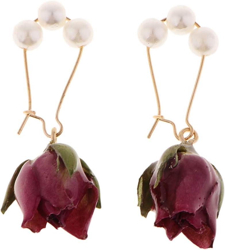 Baoblaze 1 Par Pendientes de Gancho con Perlas de Imitación Colgante de Flores Secas Naturales 3D Joyas para Mujer Chica - Púrpura