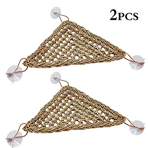 (kathson Reptile Lizard Bearded Dragon Hammock Reptile Lounger,100% Natural Grass Fibers Hammock Bed for Anoles, Bearded Dragons, Geckos, Iguanas, and Hermit Crabs,Triangular(2 Packs,7.8 x 11 inch))
