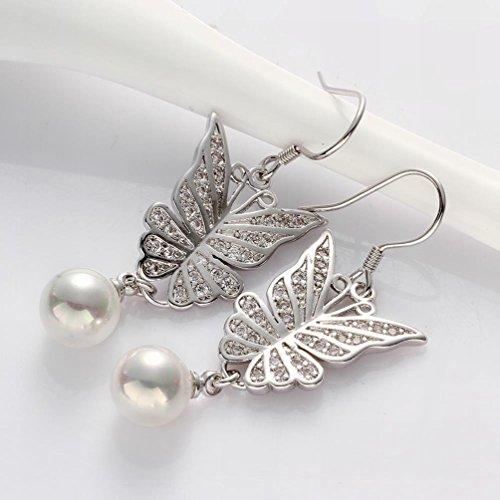 MOMO Boucles D'oreilles en Zircon en Forme de Papillon Perl Artificiel en Or Blanc / Boucles D'oreilles en Perle / Boucles D'oreille en Acier Inoxydable / Anti-allergique / Crochet