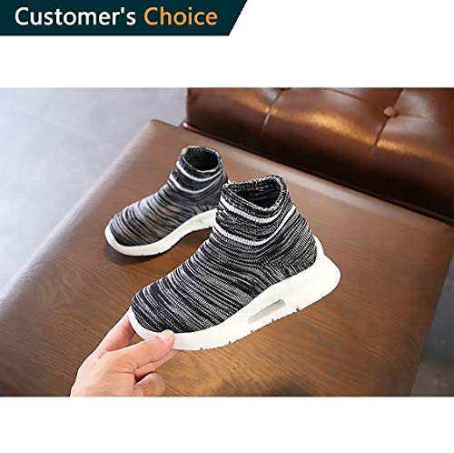 Toddler Kid's Sneakers Boys Girls Cute Casual Running Shoes Fashion Sneakers Shoes High Top Socks Mesh Sneakers Air Cushion Comfortable Shoes | Premium Quality Black