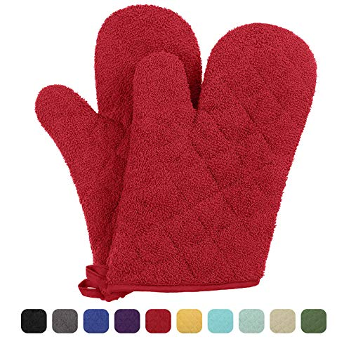 VEEYOO 100% Cotton Oven Mitts Kitchen Oven Gloves Heat Resistant Terry Oven Mitts 7x12, Red