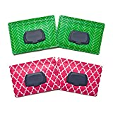 Be Bundles Wet Wipes Pouch VERSION 2 - NEW replacement snap-on lid included, 4-Pack, Pink Lattice (2) / Green Herringbone (2) - VINYL FREE (EVA and PVC)!!
