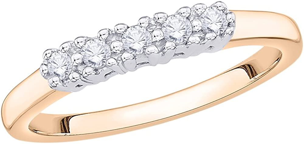 G-H,I2-I3 1//6 cttw, Size-13 Diamond Wedding Band in 10K Pink Gold