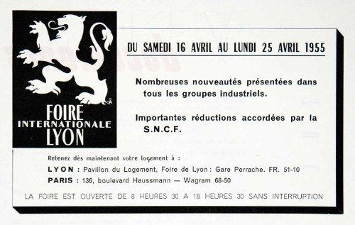 1955 Ad Lyon International Fair French France Paris Haussmann Foire de Lion - Original Print Ad
