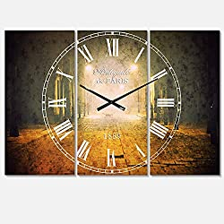 Designart Urban Street at Night Wall Art Design Mediterranean 3 Panel Wall Decorative Clock - Home Decorations for Home, Living Room,Bedroom, Office Decoration Multi Panel Metal Wall Clock