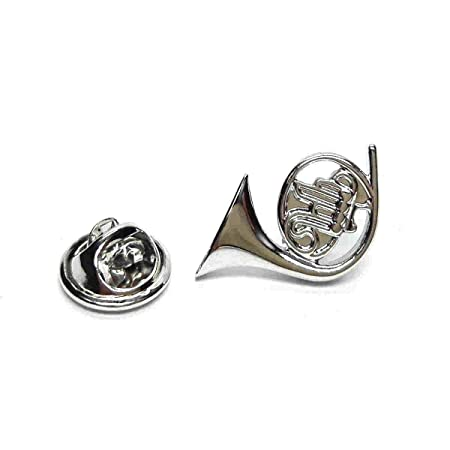 Captivating Silver French Horn Musical Instrument Lapel Pin Badge / Tie Pin, Lapel Pin  Badge,