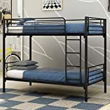 JURMERRY Bunk Beds Metal Frame Twin Over Twin Loft Bed for You with Black Sliver Slat&Ladder Hevay Duty Steel Bed Frame(Twin, Black)