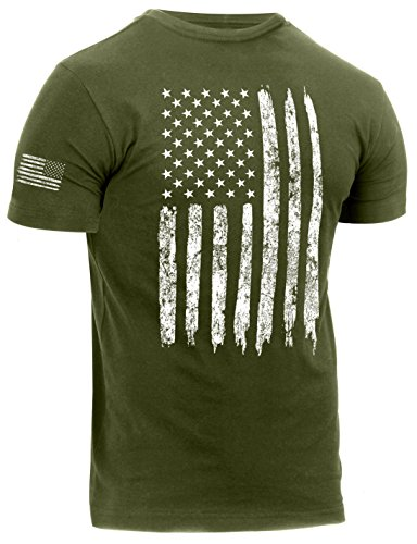 Rothco Distressed US Flag Athletic Fit T-Shirt, Olive Drab, M