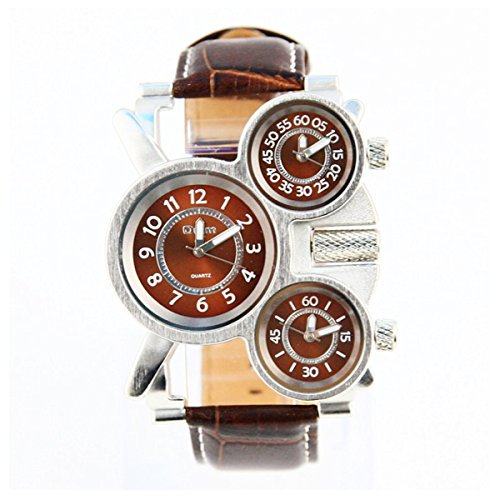 Mens Unique Three Time Display Analog Watch Fashion Military Army Sport Quartz Wrist Watch With Three Dial  Comfortable Leather Band Design Steel Case Three Time Zone   Brown