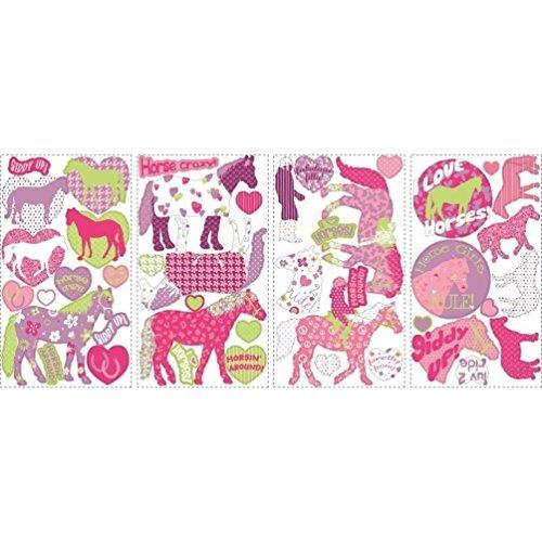 Lunarland HORSES 44 BiG Wall Stickers Girls Room Decor Decals Kids HEARTS Polka Dots Pink
