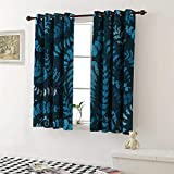 shenglv Indigo Blackout Draperies for Bedroom Dark Green Backdrop Floral Swirl Leaves Branches Details Image Curtains Kitchen Valance W72 x L63 Inch Turquoise Pale Blue and White