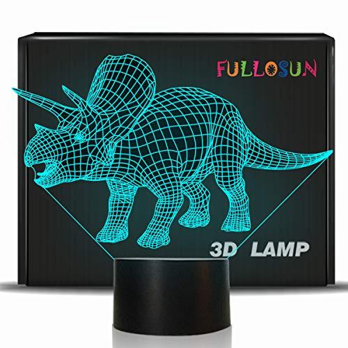 FULLOSUN Dinosaur 3D Illusion Night Light Triceratops Touch Table Desk Lamp, 7 Colors Optical USB LED Nightlight