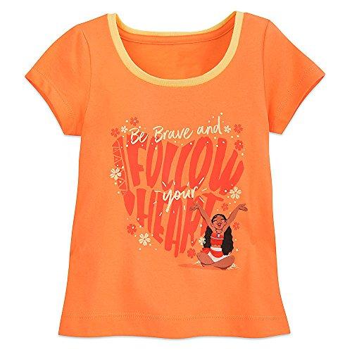 Disney Moana Ringer T-Shirt for Girls - Orange Size M (7/8)