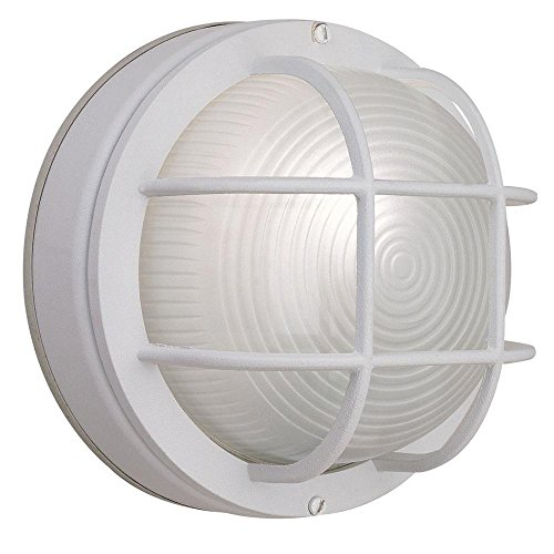 Hampton Bay White Finish 8 Inch Round Exterior Wall Light, Frosted Ribbed Glass - 1 ()