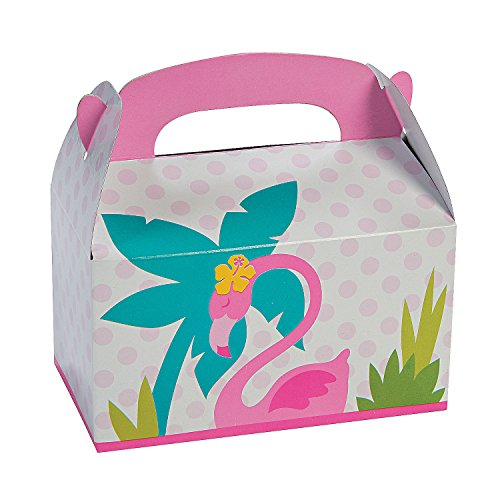 Fun Express - 1st Flamingo Treat Boxes for Birthday - Party Supplies - Containers & Boxes - Paper Boxes - Birthday - 12 Pieces