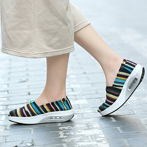 LZ-5122heitiaowen35 EnllerviiD Women Platform Slip On Stripe Canvas Sneakers Comfort Fitness Work Out Walking Shoes Black/Stripe 5 B(M) US Ds4ThINQ