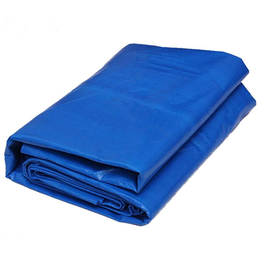 トラック日焼け止め防水シート、ポリエチレンプラスチック織り方 - ブルー - 両面100%防水 4X8M  B07Q4D5KH4