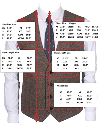 Ruth&Boaz3Pockets4ButtonsWoolHerringbone/TweedBusiness SuitVest (L, Tweed Brown) by Ruth&Boaz (Image #4)
