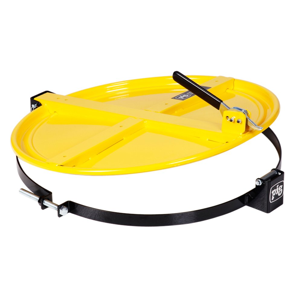 """New Pig Drum Lid, For 55 Gal Steel Drums, Latching Drum Lid - 26.75"""" x 23.25"""" x 4.375"""" - DRM659-YW"""