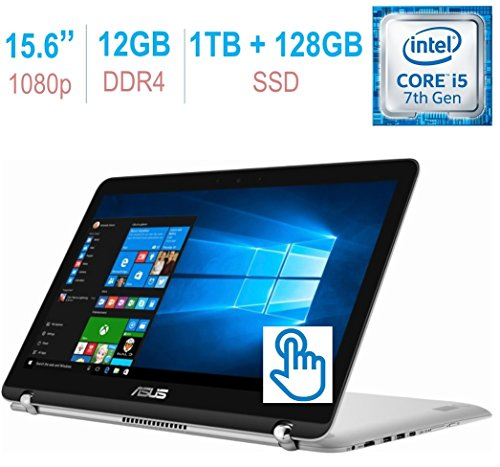 Asus 2-in-1 15.6'' FHD (1920x1080) IPS Touchscreen Laptop PC, Intel Core i5-7200u 2.50GHz 12GB DDR4 RAM 1TB HDD+128GB SSD Hybrid Backlit Keyboard Fingerprint Reader Bluetooth HDMI WiFi Windows 10 by Asus