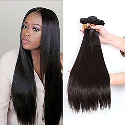 CCOLLEGE 8A Brazilian Virgin Human Hair 4 Bundles Straight Wave Weft 100% Real Human Hair Extensions Natural Color