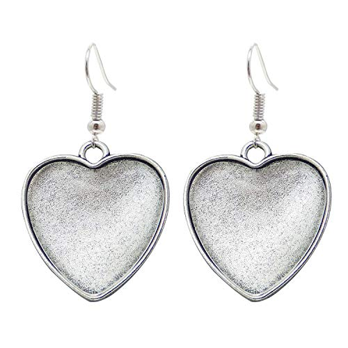 10 Pairs Heart 25mm Earring Bezels Dangle Setting Blanks w/Earring Wire Hook Antiqued Silver and Matching Clear Glass Cabochons 53935G