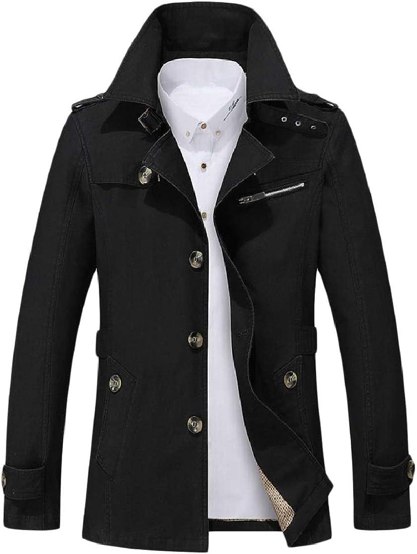 YUNY Men Business Button Turn Down Collar Jacket Comfort Soft Overcoat Black S