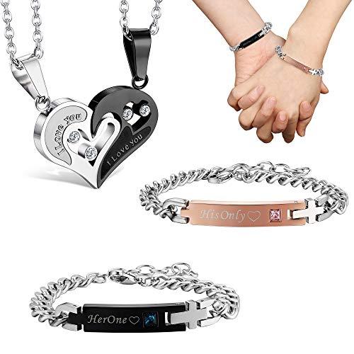 Jstyle 4Pcs Couple Necklace Bracelets Matching Set for Women Men Love Heart Pendant Necklace His & Hers Bracelets Couple Gift ()