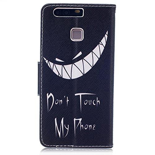 Funda para Huawei P9, Huawei P9Cover, ikasus oso mariposa flores Series–Funda de piel sintética plegable tipo cartera funda de piel con tapa con soporte Soportes de ID de tarjeta de crédito funda p Devil Don't Touch Py Phone
