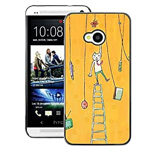 A-type Arte & diseño plástico duro Fundas Cover Cubre Hard Case Cover para HTC One M7 (Cat Painting Art Yellow)