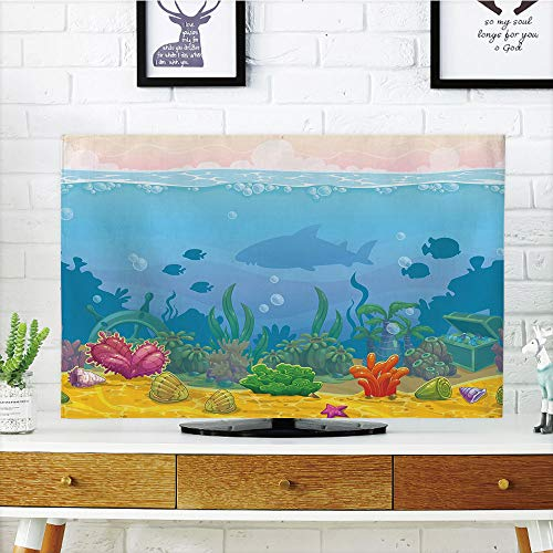 (iPrint LCD TV dust Cover Customizable,Aquarium,Rich Under The Sea Landscape Fish Silhouettes Colorful Exotic Plants and Shells Decorative,Multicolor,Graph Customization Design Compatible 60
