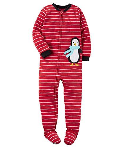 Carters Baby Boy Fleece Pajamas (4T, Red Stripe Penguin)