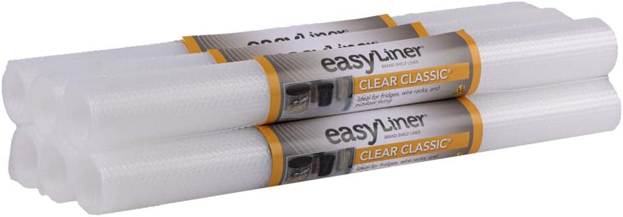 Duck Brand Clear Classic Easy 286815 Non-Adhesive Shelf Liner, 20 in x 4 ft Roll x 6 Rolls