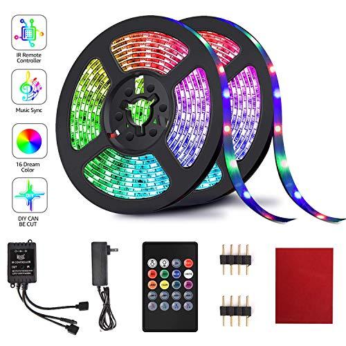 2-Pack HRDJ 20Key RGB LED Strip Lights 16.4-ft Now $13.99 (Was $27.99 )
