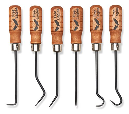 Free Mini Pick Set (Hook And Pick Tool Set - 6 Multipurpose Handcrafted Quality Mini Tools - Durable, Rigid and Heavy Duty Chromium Vanadium Forge Steel - These All Purpose Tools Are Made In The USA - Free Eagles, LLC)