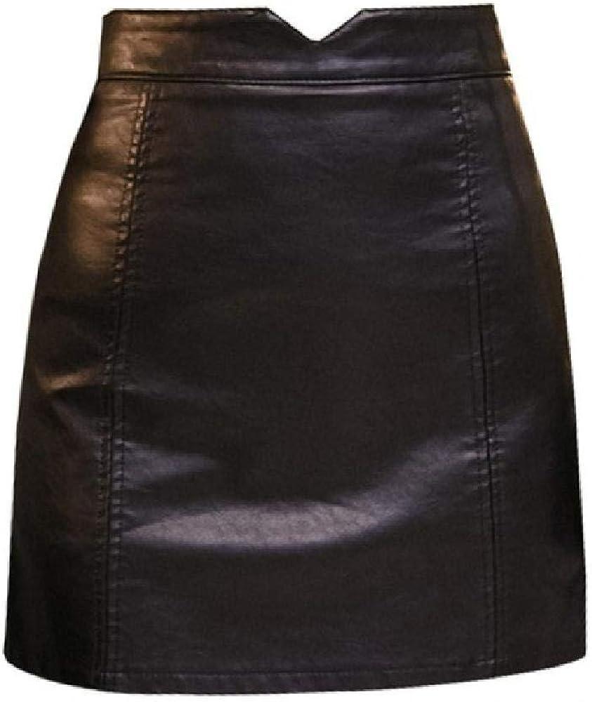 NOBRAND Casual PU Cuero Falda Mujer Elegante Cremallera Mini A-Line Falda Señora Skinny Alta Cintura Faldas Negro