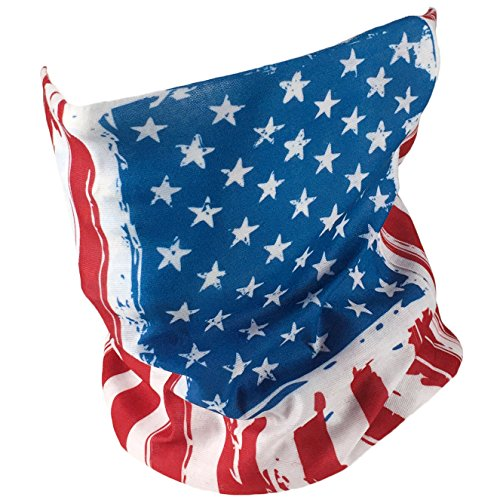 American Flag Bandana - Works as Face Mask, Neck Gaiter, Headband, Balaclava - Perfects for Running, Motorcycle Riding, Cycling, Fishing, Skiing - Breathable High Performance Microfiber