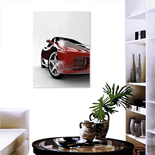 (Warm Family Teen Room Ready to Hang Home Decorations Wall Decor Modern Automotive Vivid Toned Car Back View Prestige Passion Artistic Image Art Stickers 16
