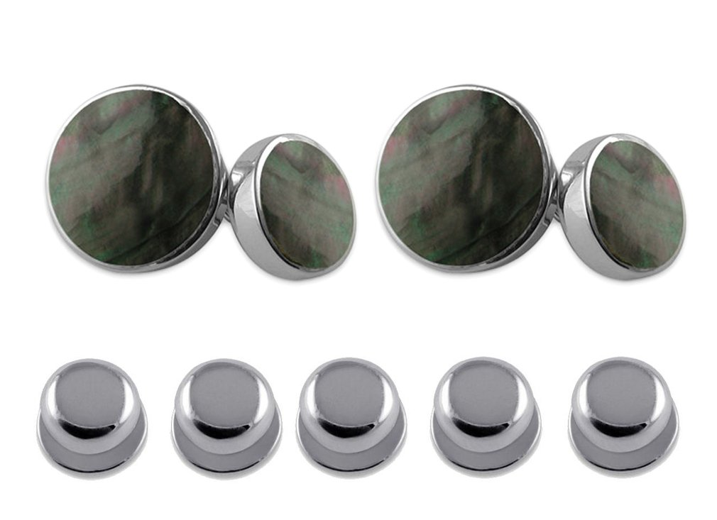 Sterling Silver Cufflinks with Black Mother of Pearl Shirt Dress Studs Gift Set