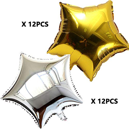 ZOOYOO 24 Inch Gold and Silver Star Shape Foil Mylar Balloons,Pentagram Balloon Birthday Party & Wedding Decoration 24pcs(Each 12 pcs) (24 Mylar Balloon)